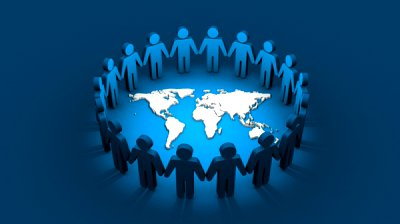 stock-footage-group-of-cutout-people-holding-hands-together-forming-circle-around-world-map
