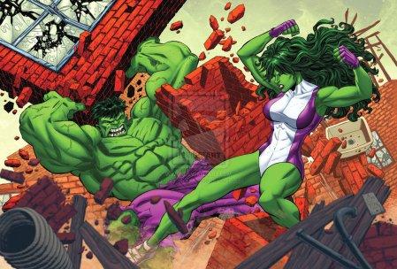 hulk_vs__she_hulk_by_bennyfuentes-d5kx4qc